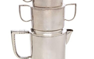 Cyril Shiner (British 1908-1989), an electro-plated nickel silver stacking tea set made by Slade & Dolphin Ltd, Designed 1946, stamped EASI-NEST, A.1. E.P.N.S, PRO. PAT., No. 3948, Regd. Design, 853938, Made in England, Comprising: a tea pot and a...
