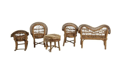 DOLLS: A MINIATURE WOVEN RATTAN DOLLS SALON SUITE, PROBABLY LATE 19TH/EARLY 20TH CENTURY