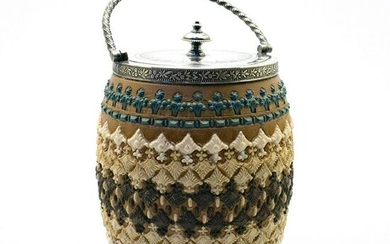 Doulton Lambeth Silicon Ware Jar with Silver Lid and