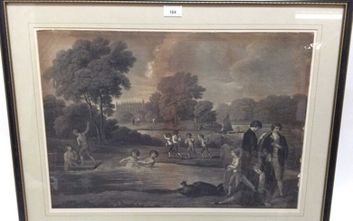 Early 19th century black and white engraving - Eton students in the river, 41cm x 59cm, in glazed frame