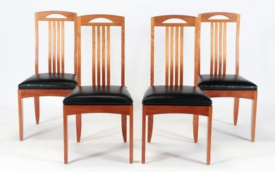 FOUR CHERRY DINING ROOM CHAIRS BY PAUL DOWNS