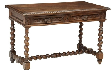 FRENCH HENRI II STYLE CARVED OAK WRITING TABLE