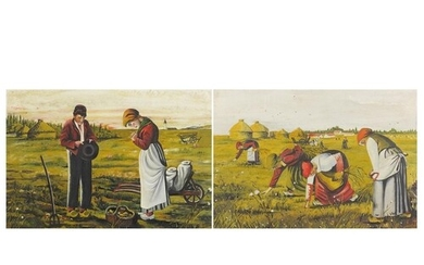 Figures in farmland, pair of Russian oil on canvasses, each ...
