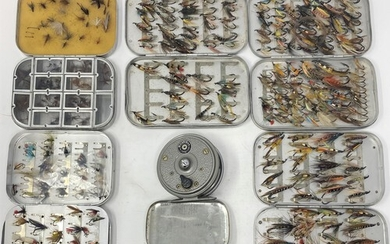 Five Wheatley fly tins, other flies and a Young Beaudex fish...