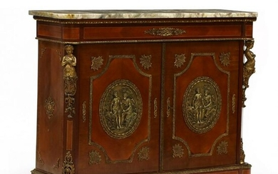 French Empire Style Marble Top Ormolu Mount Credenza