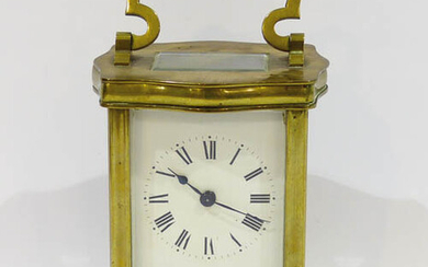 French travel clock, in a four-foot bronze case, with...