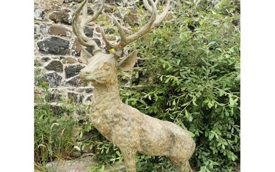 Good quality bronze Stag mounted on a craggy rock {160 cm H ...