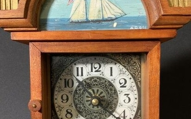 Hand Crafted Wood Table Grandfather Clock, Sign.