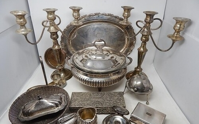 Large Quantity of Silver Plated Wares to Include a Pair of C...