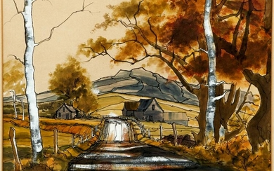 Lia Galletti Country Road Mixed Media Painting