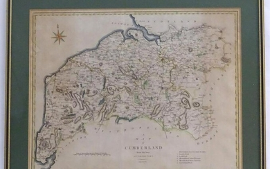 Map: A 19thC hand coloured engraved map of Cumberland