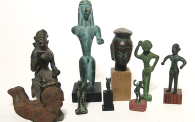 Mixed group of 9 bronze ancient-style replica figures