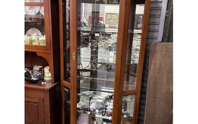 Modern canted side display cabinet with light, approx 183cm ...