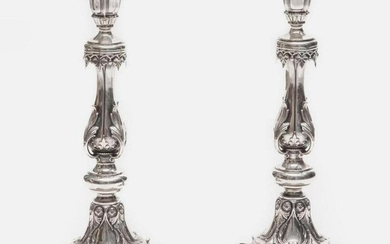 Pair of Russian .875 Silver Candlesticks