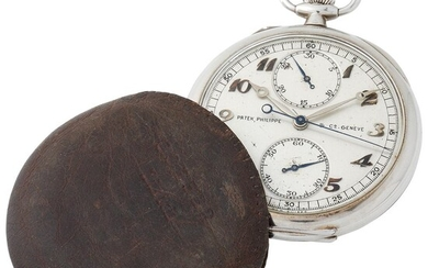 Patek Philippe. Very Rare and Fine Open Face Monopusher Chronograph Pocket Watch in White Gold With Vertical Registers and Extract from Archives