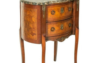 Petite French Louis XV Style Marquetry Side Table