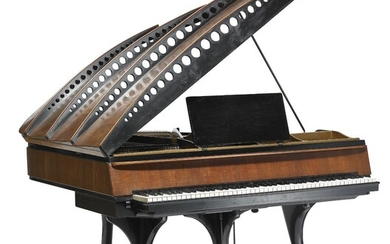"""Poul Henningsen: """"PH-bow Grand Piano"""". Rare grand piano. Nutwood, browned brass and black lacquered wood. Manufactured by Andreas Christensen. – Bruun Rasmussen Auctioneers of Fine Art"""