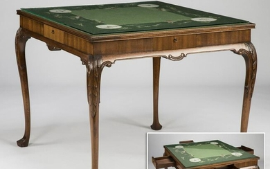 Queen Anne style game table with needlepoint top