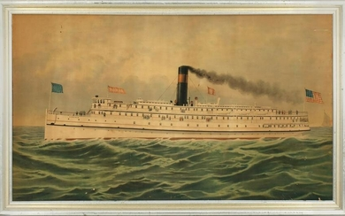 RARE CHROMOLITHOGRAPH OF EARLY 20TH C. STEAMER VIRGINIA