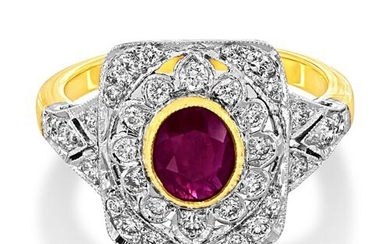 Ruby Ring set with 1.12ct. ruby and 0.51 ct. diamonds. This ...