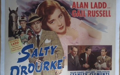 Salty O'Rourke (His Last Race) (1945) By Raoul Walsh with Alan Ladd, Gail Russell, Bruce Cabot Original canvas poster USA Paramount pictures