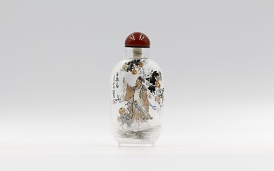 Snuff bottle - Glass - Human Figure - Portrait of Bai Juyi, a famous poet in Tang dynasty - China - 21st century