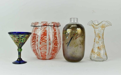 Three Assorted Art Glass Vases