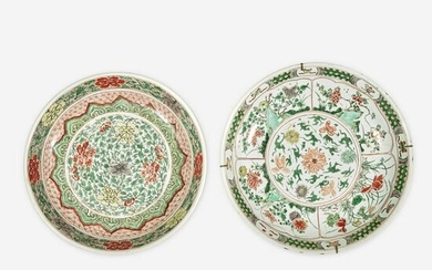 Two Chinese Famille Verte-Decorated Porcelain Dishes