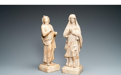 Two alabaster figures of a Golgotha Madonna and John the Bap...
