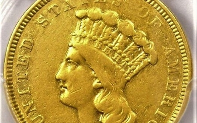 United States. 3 Dollars 1854-O (New Orleans Mint) Gold Indian Princess - Scarce Issue