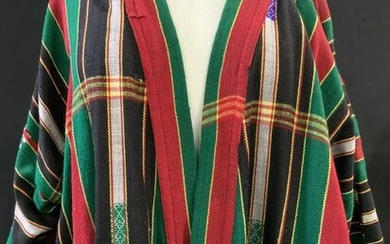 Unstructured Striped Woven Tunic w Embroidery