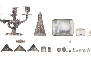 Various silver (800 > 935/000) 19th & 20thC 'Objets de vertu', toys, ornamental items, etc., the total weight of the silver c. 880 g., we add: a rococo style silver plated candelabra