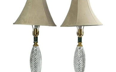 Waterford Irish Crystal Signed Swirl Table Lamps