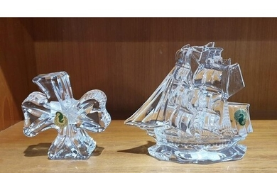 """Waterford crystal """"Dunbrody"""" tall masted ship model, acid et..."""