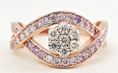 mix pink vvs on of a kind - 14 kt. Pink gold - Ring - 0.60 ct Diamond - AIG Certified No Reserve