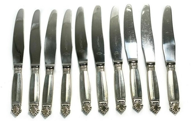 10 Georg Jensen Sterling Silver 8 in Knives in Acanthus