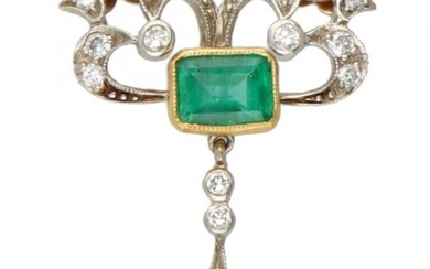 14K. Bicolor gold Art Nouveau necklace with pendant set with approx. 1.14 ct. natural emerald...