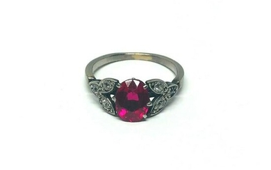 1950's Platinum Synthetic Ruby Rose Cut Diamond Ring