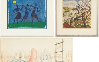 3 Works on Paper, incl. Paulus & Henry Moore Abstract