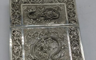 A 19th century Asian silver filigree card case with