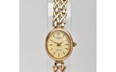A 9CT GOLD ROTARY WRISTWATCH WITH BOX, the oval face with ba...