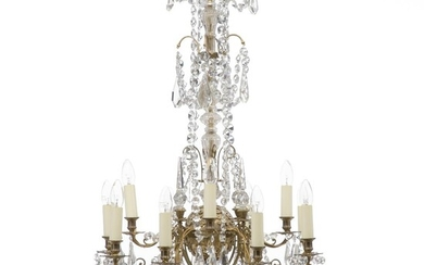 NOT SOLD. A French gilt brass and bronze 12 light chandelier adorned with prisms. Late 19th century. H. 105 cm. Diam. 65 cm. – Bruun Rasmussen Auctioneers of Fine Art