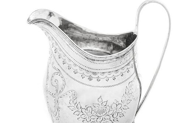 A George III Silver Creamer with Bright-Cut Decoration