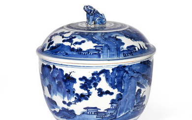 A LARGE ARITA BLUE AND WHITE DEEP BOWL AND COVER