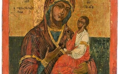 A LARGE DATED ICON SHOWING THE HODIGITRIA MOTHER OF GOD