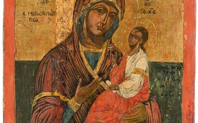 A LARGE DATED ICON SHOWING THE HODIGITRIA MOTHER OF GOD...