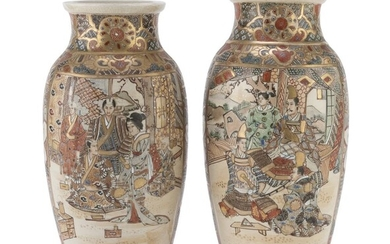 A PAIR OF JAPANESE POLYCHROME AND GOLD ENAMELED CERAMIC VASES EARLY 20TH CENTURY.
