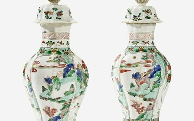 A Pair of Chinese Famille Verte-Decorated Porcelain