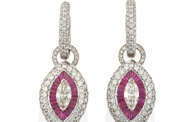A Pair of Ruby and Diamond Cluster Drop Earrings,...