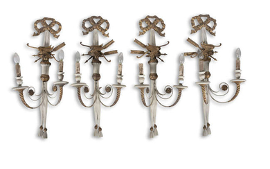 A SET OF FOUR REGENCY STYLE CREAM PAINTED...